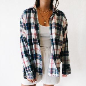 Vintage Oversized Button Up Flannel White